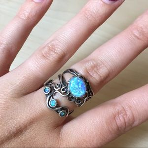 Israel 925 Opal Ring Sterling Silver, Size 8